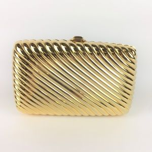 Judith Leiber Gold Ribbed Minaudie`re Box Clutch